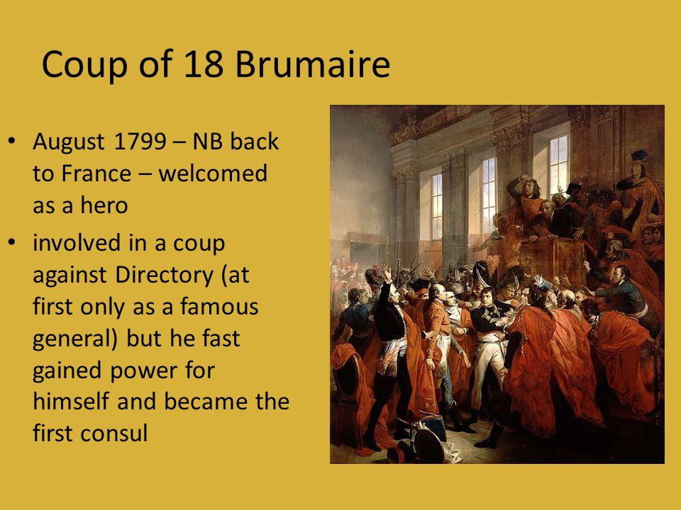 Coup of 18 Brumaire August 1799 – NB back to France – welcomed as a hero.