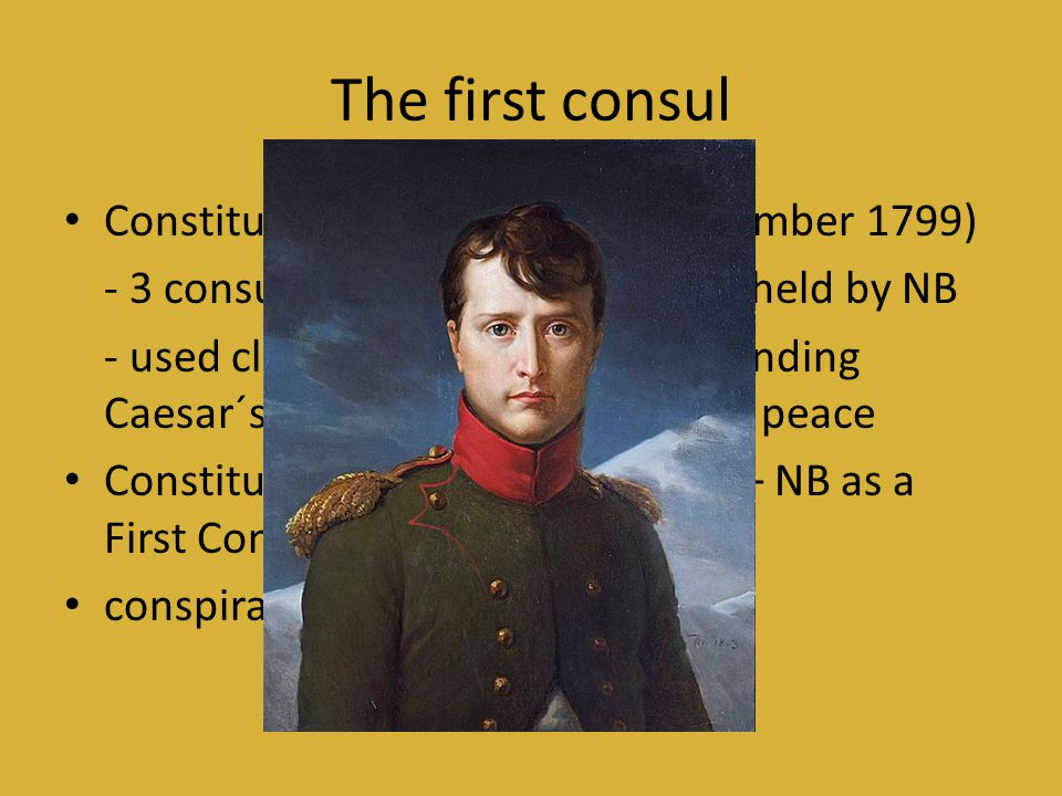 The first consul Constitution of the Year VIII (December 1799)