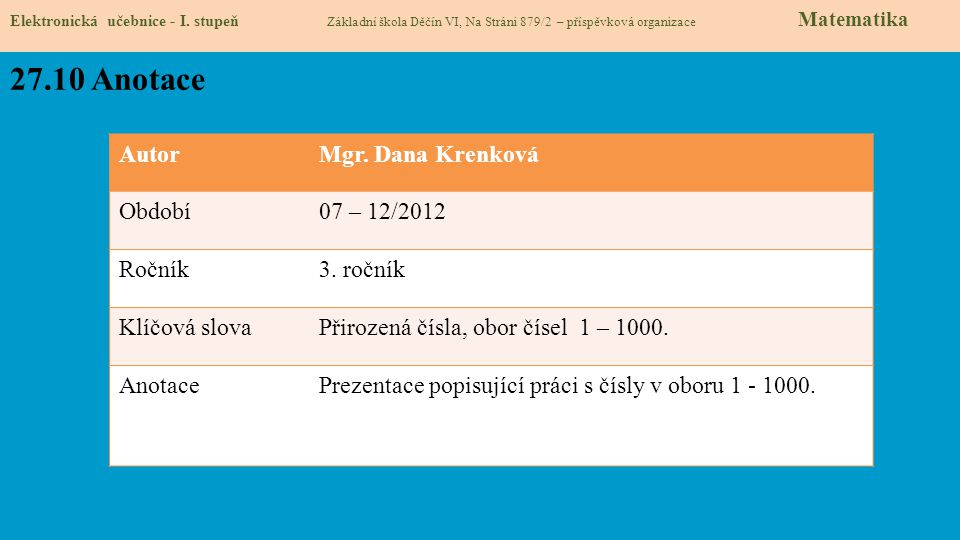 27.10 Anotace Autor Mgr. Dana Krenková Období 07 – 12/2012 Ročník