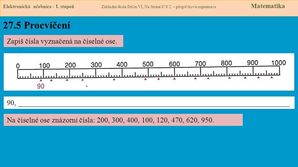 27.5 Procvičení Zapiš čísla vyznačená na číselné ose.