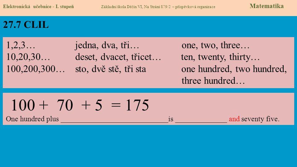 27.7 CLIL 1,2,3… jedna, dva, tři… one, two, three…