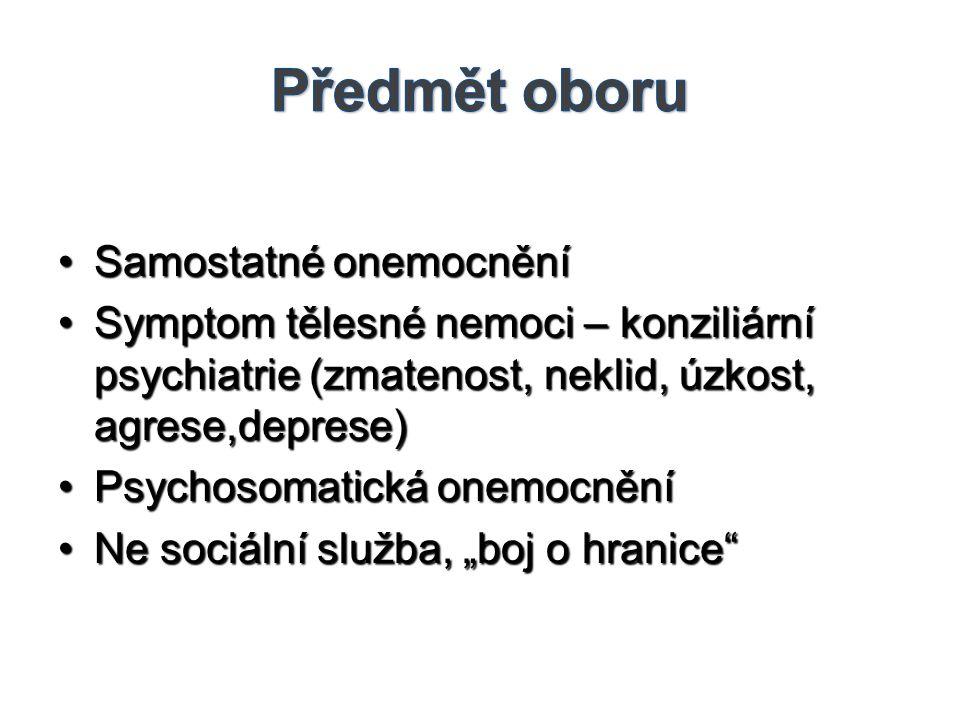 Předmět oboru Samostatné onemocnění