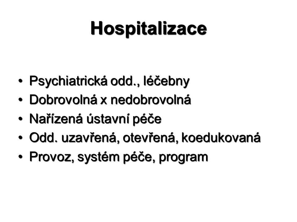 Hospitalizace Psychiatrická odd., léčebny Dobrovolná x nedobrovolná
