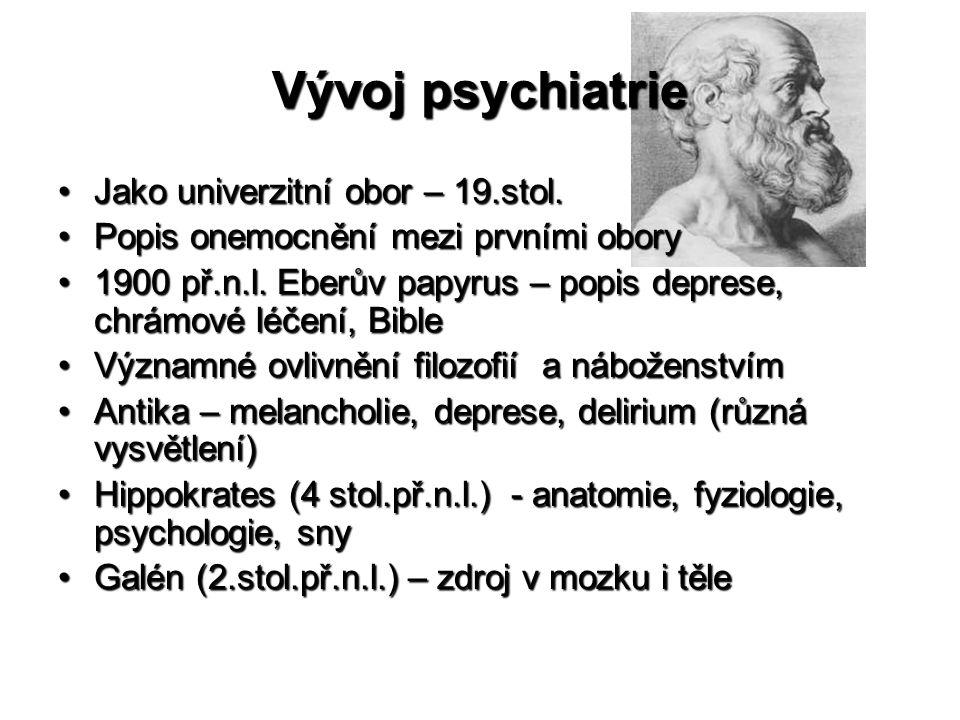Vývoj psychiatrie Jako univerzitní obor – 19.stol.