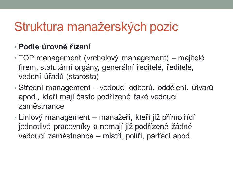 Struktura manažerských pozic