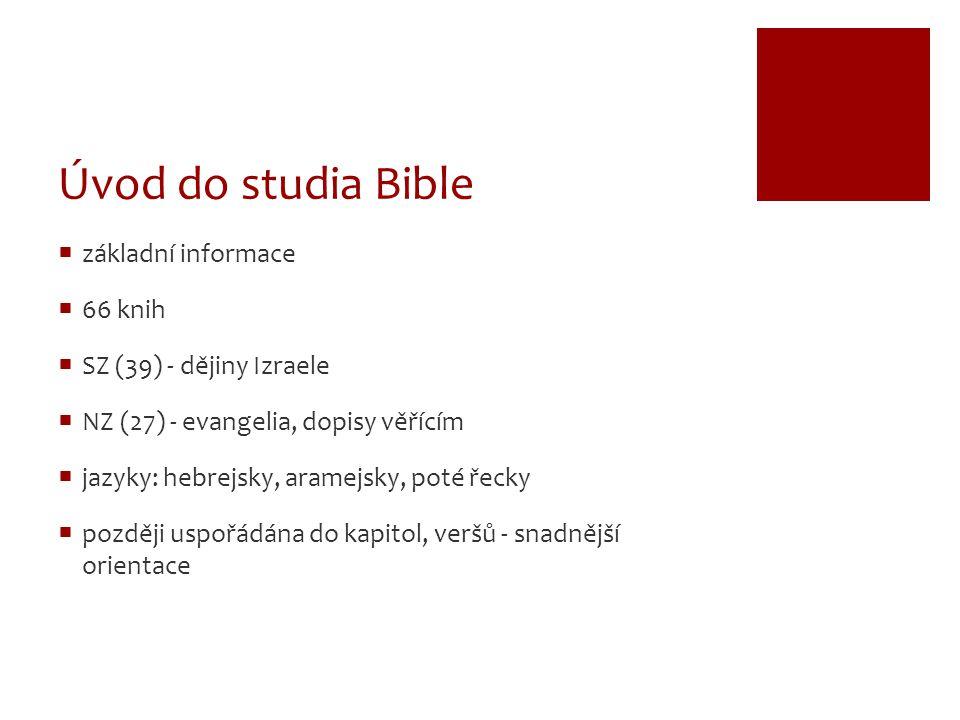 Úvod do studia Bible základní informace 66 knih