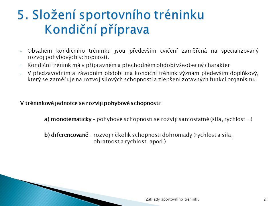 5. Složení sportovního tréninku Kondiční příprava