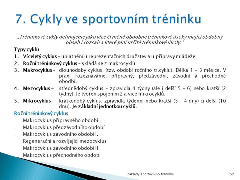 7. Cykly ve sportovním tréninku
