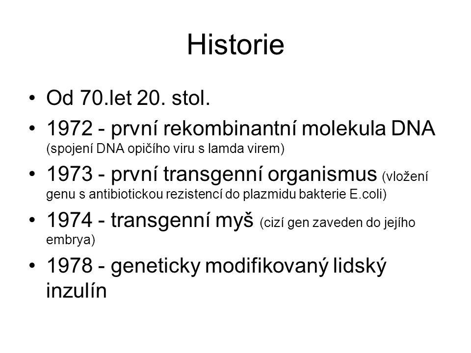 Historie Od 70.let 20. stol. 1972 - první rekombinantní molekula DNA (spojení DNA opičího viru s lamda virem)