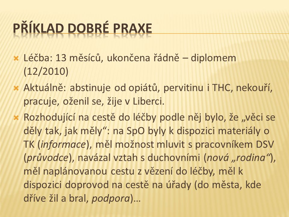 Příklad dobré praxe Léčba: 13 měsíců, ukončena řádně – diplomem (12/2010)