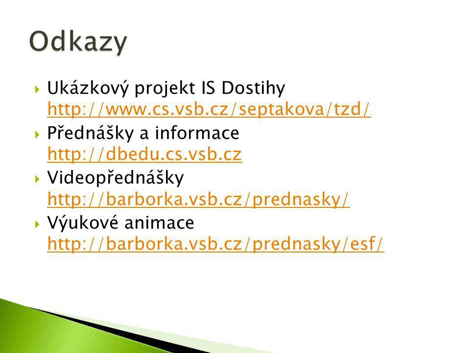 Odkazy Ukázkový projekt IS Dostihy http://www.cs.vsb.cz/septakova/tzd/