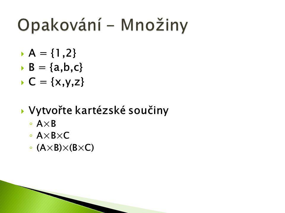 Opakování - Množiny A = {1,2} B = {a,b,c} C = {x,y,z}