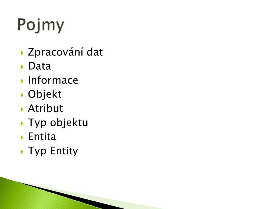 Pojmy Zpracování dat Data Informace Objekt Atribut Typ objektu Entita