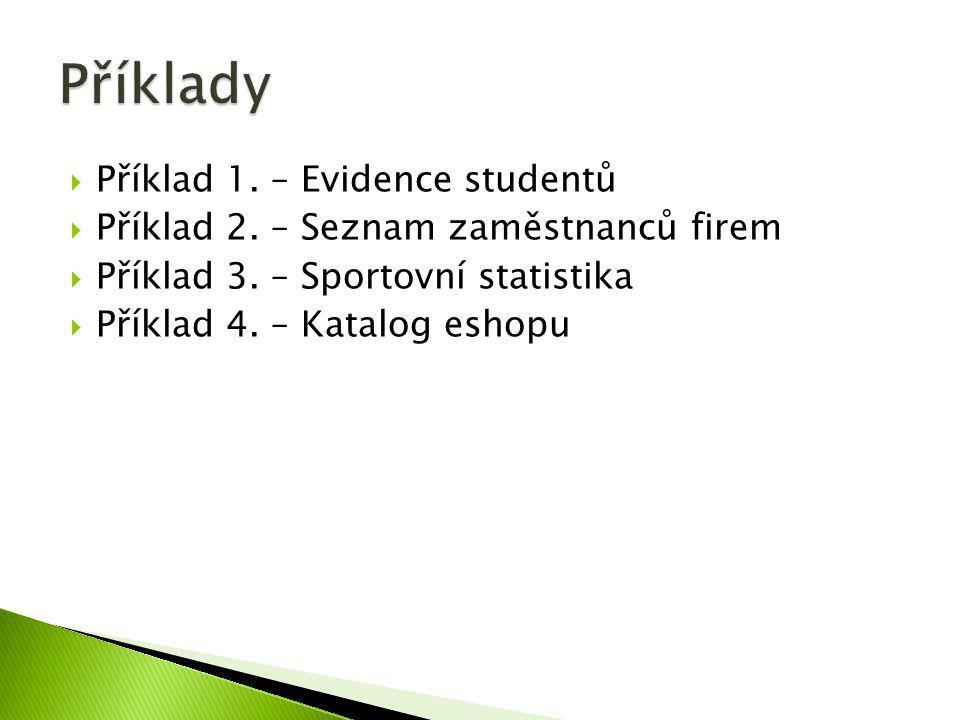 Příklady Příklad 1. – Evidence studentů