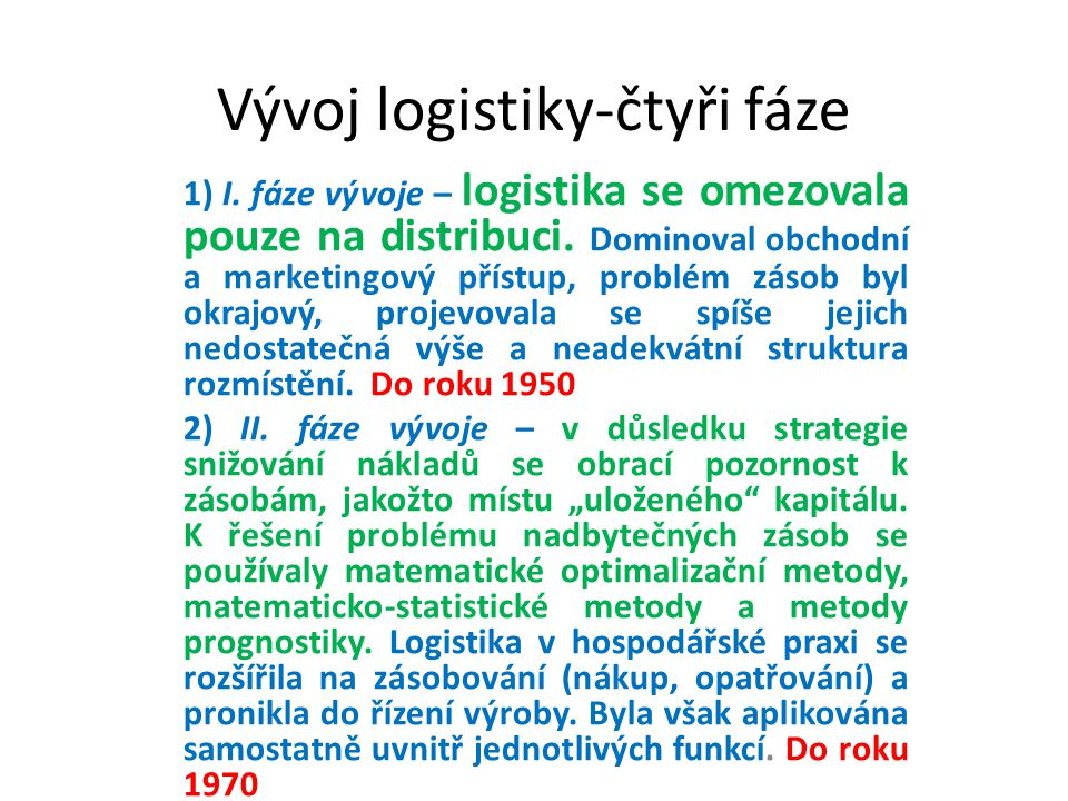 Vývoj logistiky-čtyři fáze