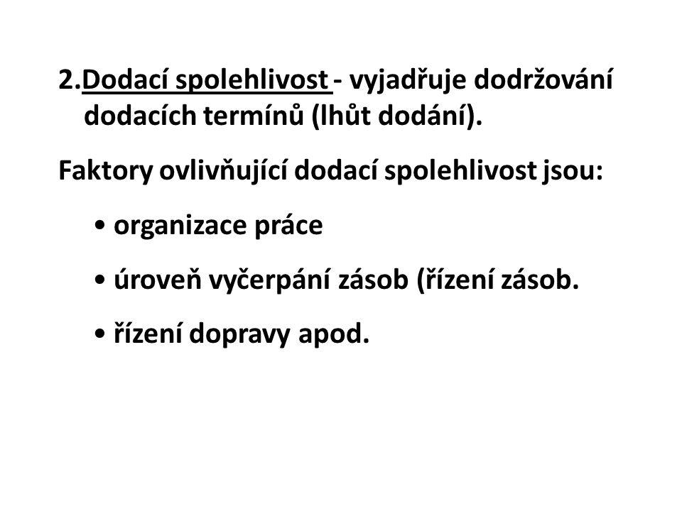 2.Dodací spolehlivost - vyjadřuje dodržování dodacích termínů (lhůt dodání).