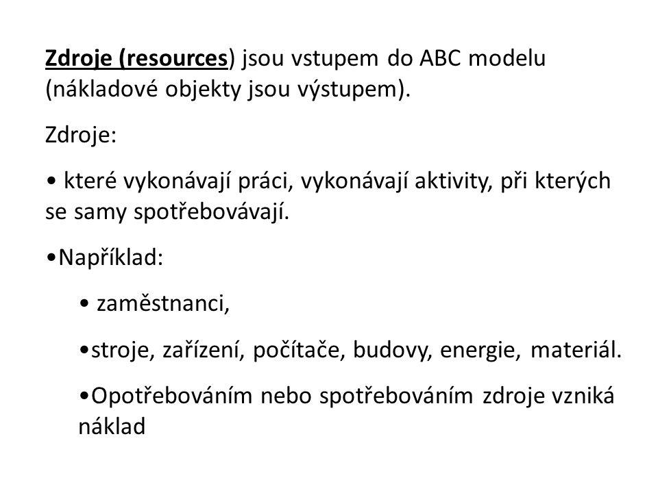Zdroje (resources) jsou vstupem do ABC modelu (nákladové objekty jsou výstupem).