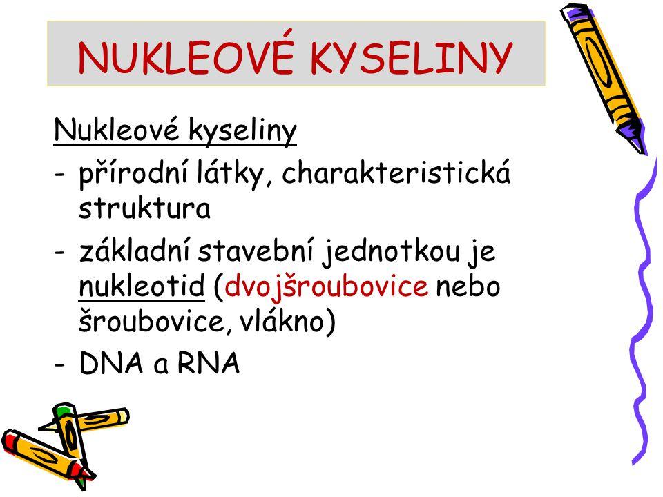 NUKLEOVÉ KYSELINY Nukleové kyseliny