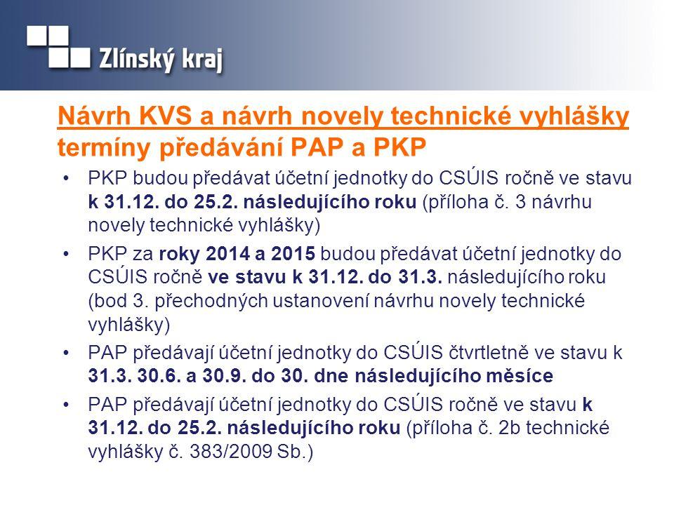 Návrh KVS a návrh novely technické vyhlášky termíny předávání PAP a PKP