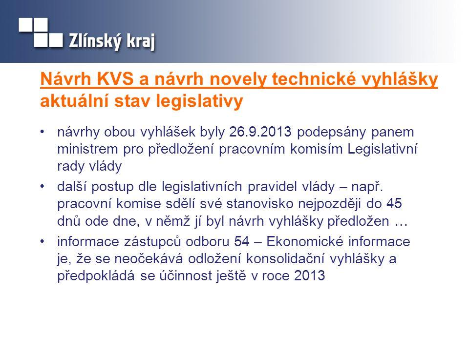 Návrh KVS a návrh novely technické vyhlášky aktuální stav legislativy