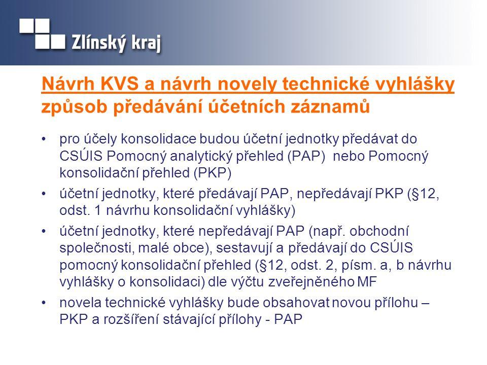 Návrh KVS a návrh novely technické vyhlášky způsob předávání účetních záznamů