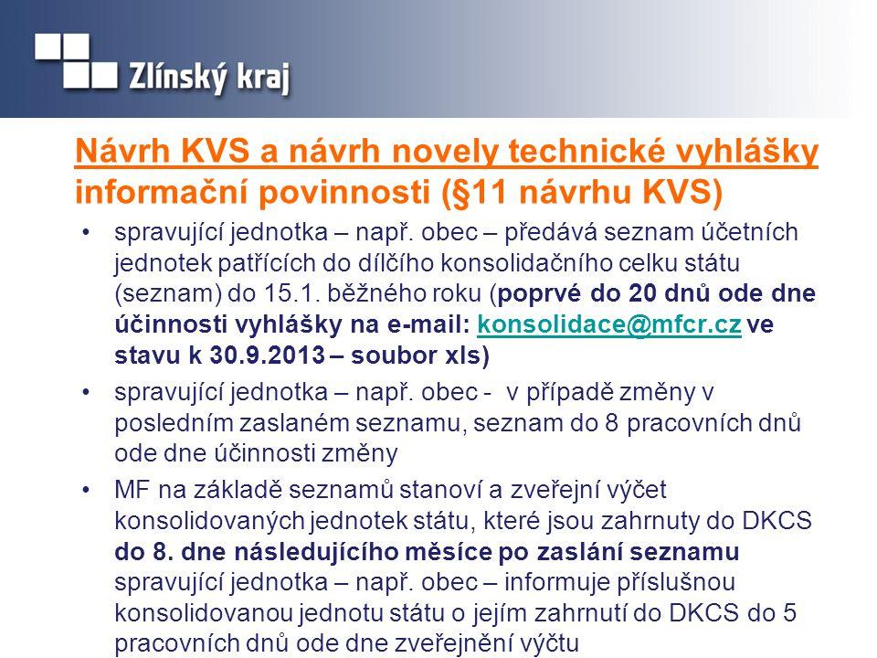 Návrh KVS a návrh novely technické vyhlášky informační povinnosti (§11 návrhu KVS)