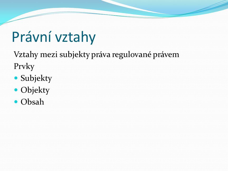 Právní vztahy Vztahy mezi subjekty práva regulované právem Prvky