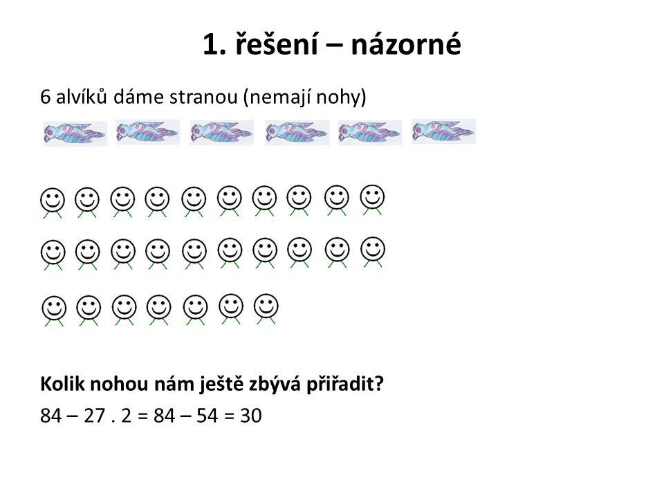 1. řešení – názorné 6 alvíků dáme stranou (nemají nohy)