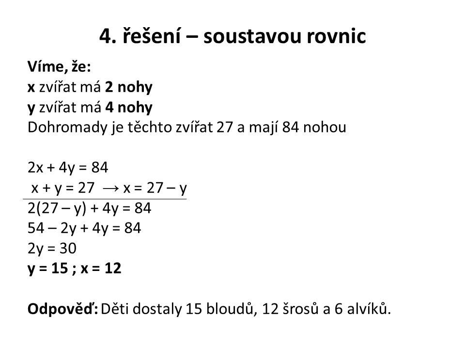 4. řešení – soustavou rovnic