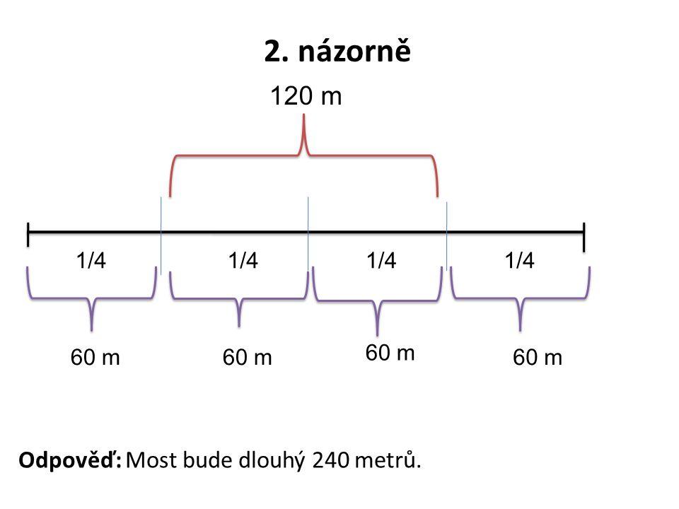 2. názorně 120 m 1/4 60 m Odpověď: Most bude dlouhý 240 metrů.