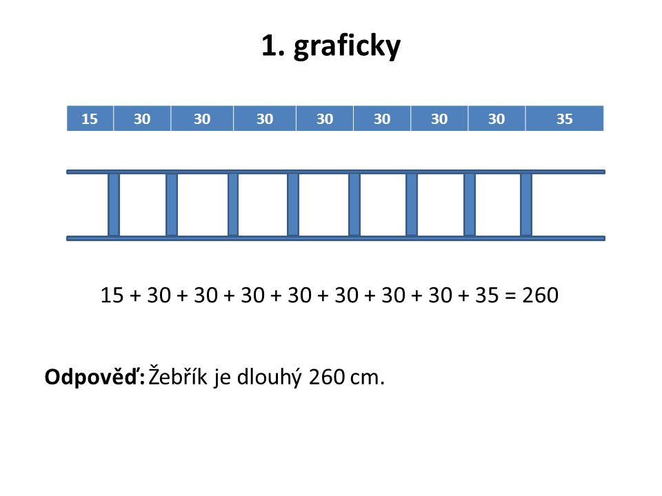 1. graficky 15. 30. 35. 15 + 30 + 30 + 30 + 30 + 30 + 30 + 30 + 35 = 260.