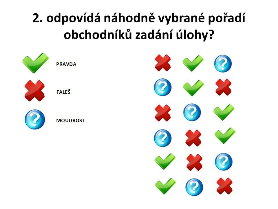 2. odpovídá náhodně vybrané pořadí obchodníků zadání úlohy