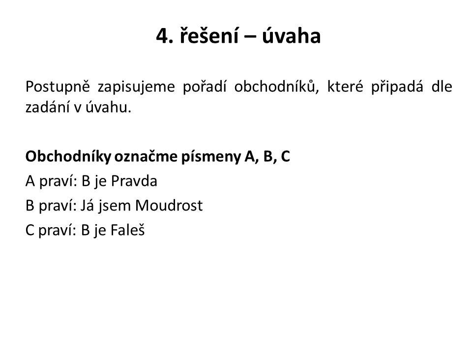 4. řešení – úvaha Postupně zapisujeme pořadí obchodníků, které připadá dle zadání v úvahu. Obchodníky označme písmeny A, B, C.
