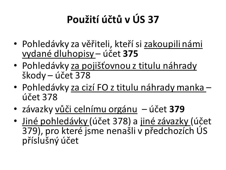 Použití účtů v ÚS 37 Pohledávky za věřiteli, kteří si zakoupili námi vydané dluhopisy – účet 375.
