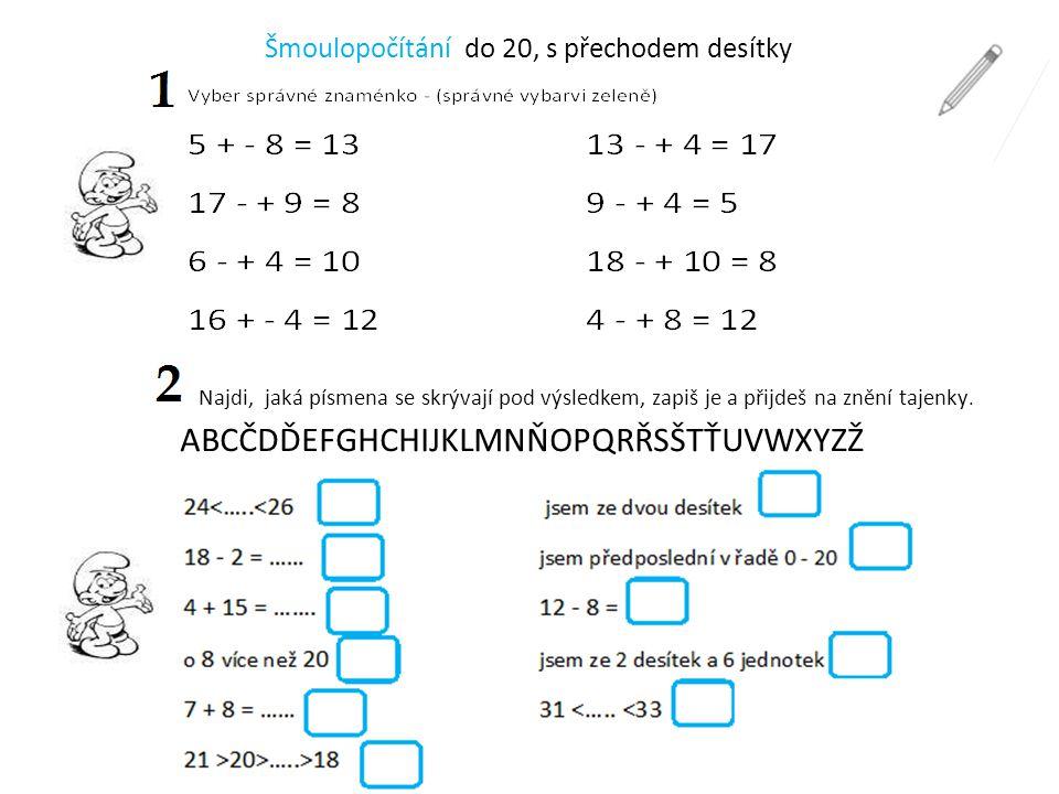 Šmoulopočítání do 20, s přechodem desítky