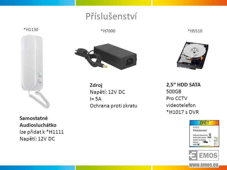 Příslušenství Zdroj 2,5 HDD SATA Napětí: 12V DC 500GB I= 5A