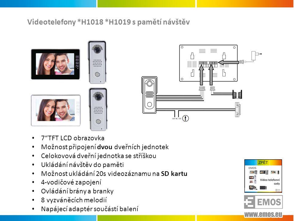 Videotelefony *H1018 *H1019 s pamětí návštěv
