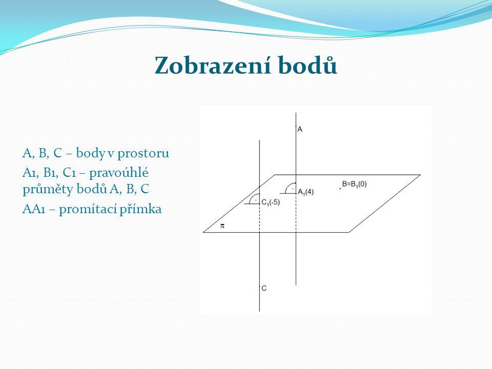 Zobrazení bodů A, B, C – body v prostoru