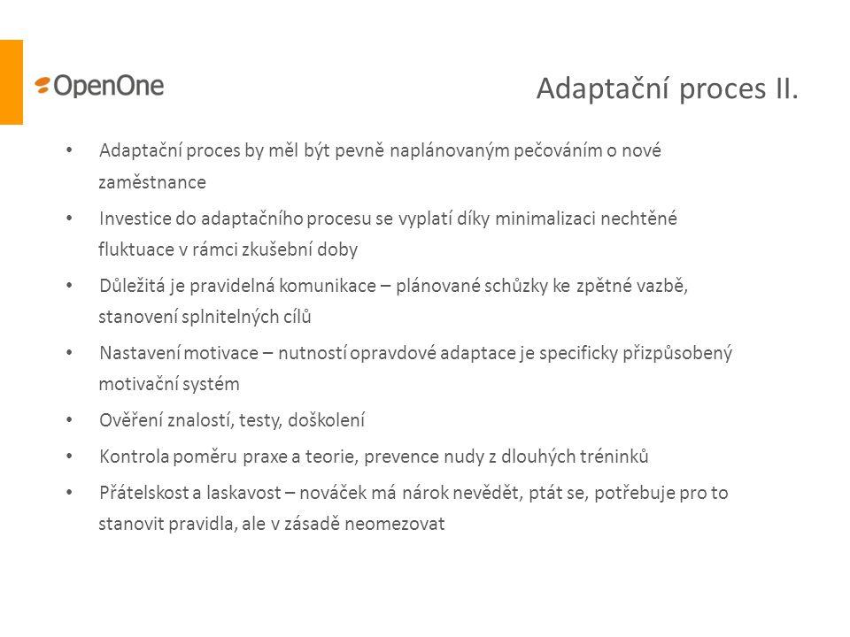 Adaptační proces II. Adaptační proces by měl být pevně naplánovaným pečováním o nové zaměstnance.
