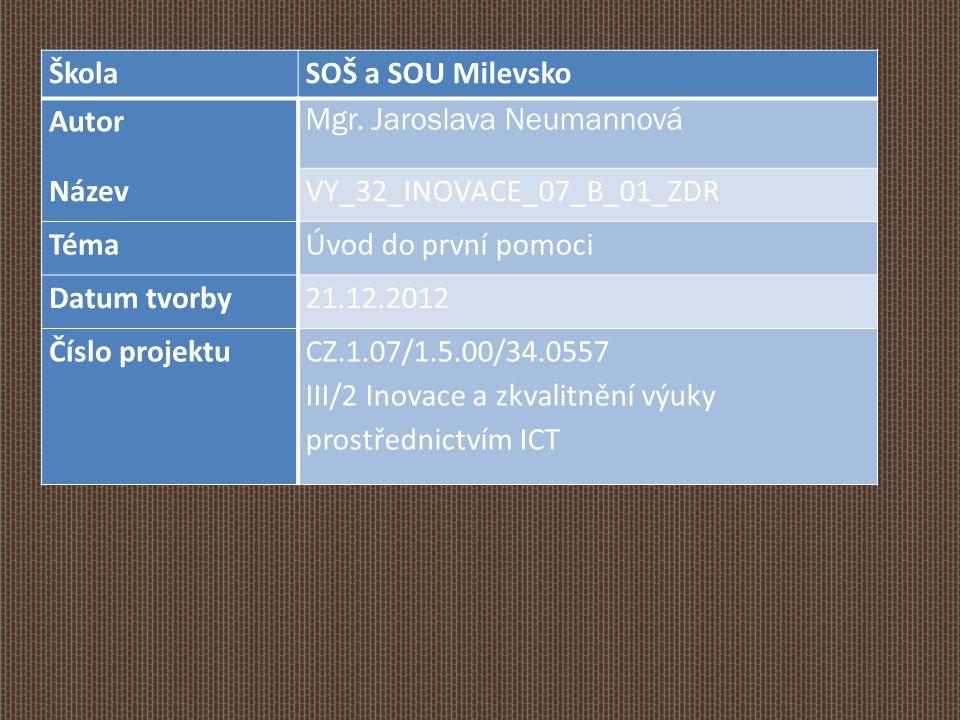 Škola SOŠ a SOU Milevsko. Autor. Mgr. Jaroslava Neumannová. Název. VY_32_INOVACE_07_B_01_ZDR. Téma.