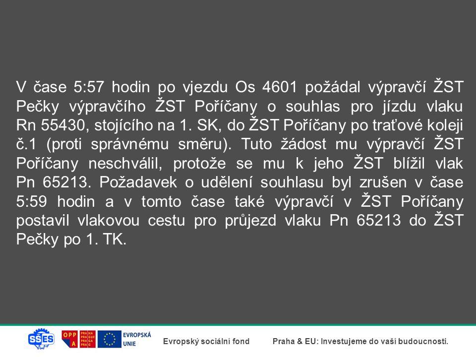 V čase 5:57 hodin po vjezdu Os 4601 požádal výpravčí ŽST Pečky výpravčího ŽST Poříčany o souhlas pro jízdu vlaku Rn 55430, stojícího na 1.
