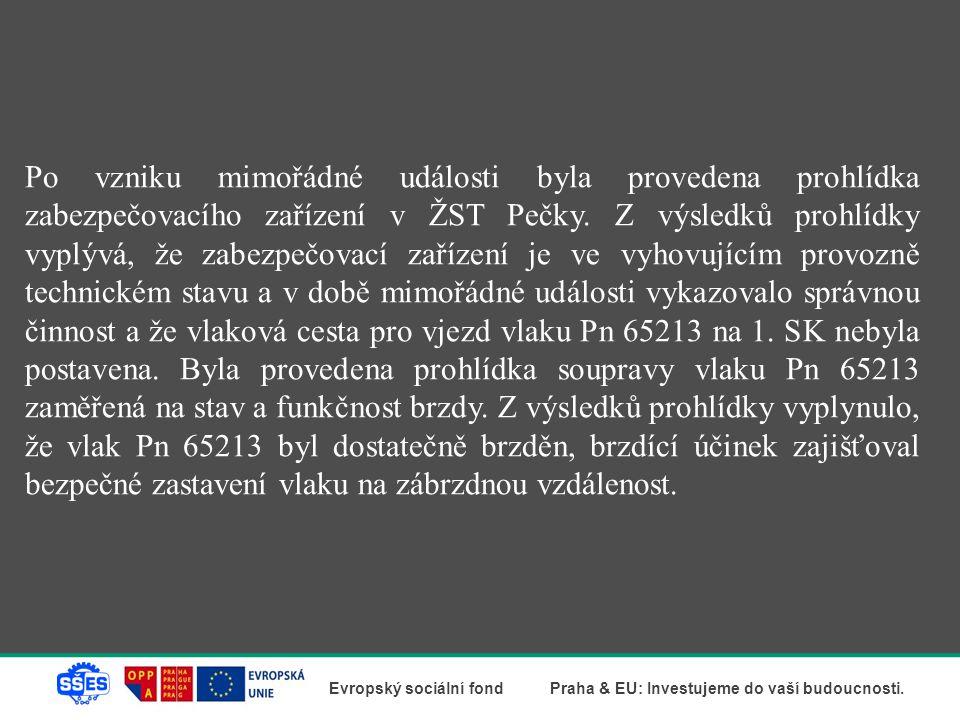 Po vzniku mimořádné události byla provedena prohlídka zabezpečovacího zařízení v ŽST Pečky.