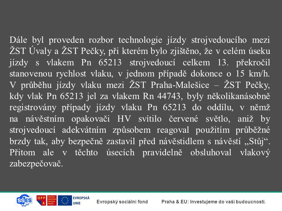Dále byl proveden rozbor technologie jízdy strojvedoucího mezi ŽST Úvaly a ŽST Pečky, při kterém bylo zjištěno, že v celém úseku jízdy s vlakem Pn 65213 strojvedoucí celkem 13.