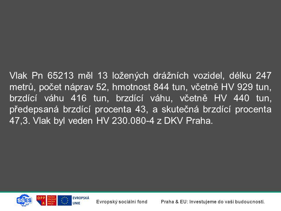 Vlak Pn 65213 měl 13 ložených drážních vozidel, délku 247 metrů, počet náprav 52, hmotnost 844 tun, včetně HV 929 tun, brzdící váhu 416 tun, brzdící váhu, včetně HV 440 tun, předepsaná brzdící procenta 43, a skutečná brzdící procenta 47,3.