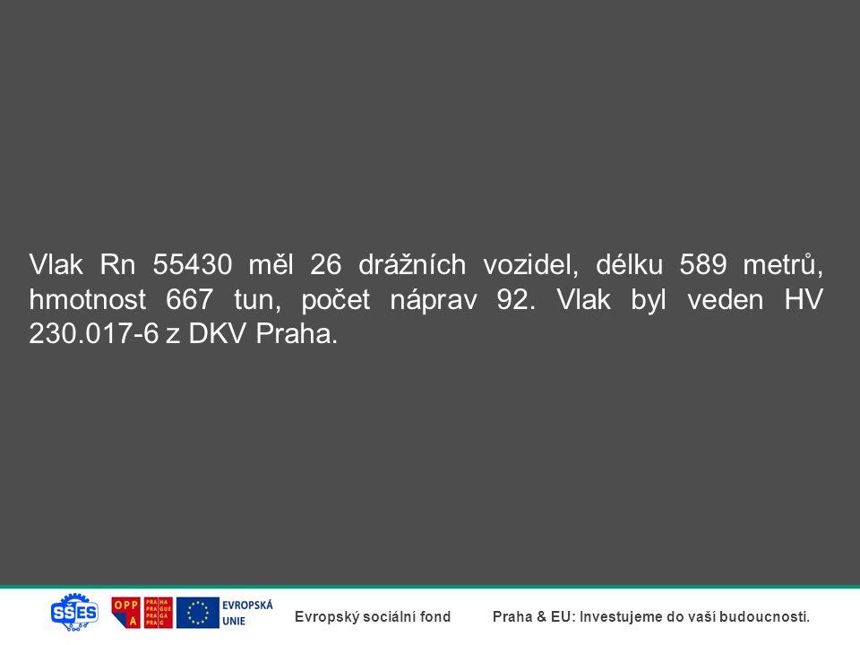 Vlak Rn 55430 měl 26 drážních vozidel, délku 589 metrů, hmotnost 667 tun, počet náprav 92.