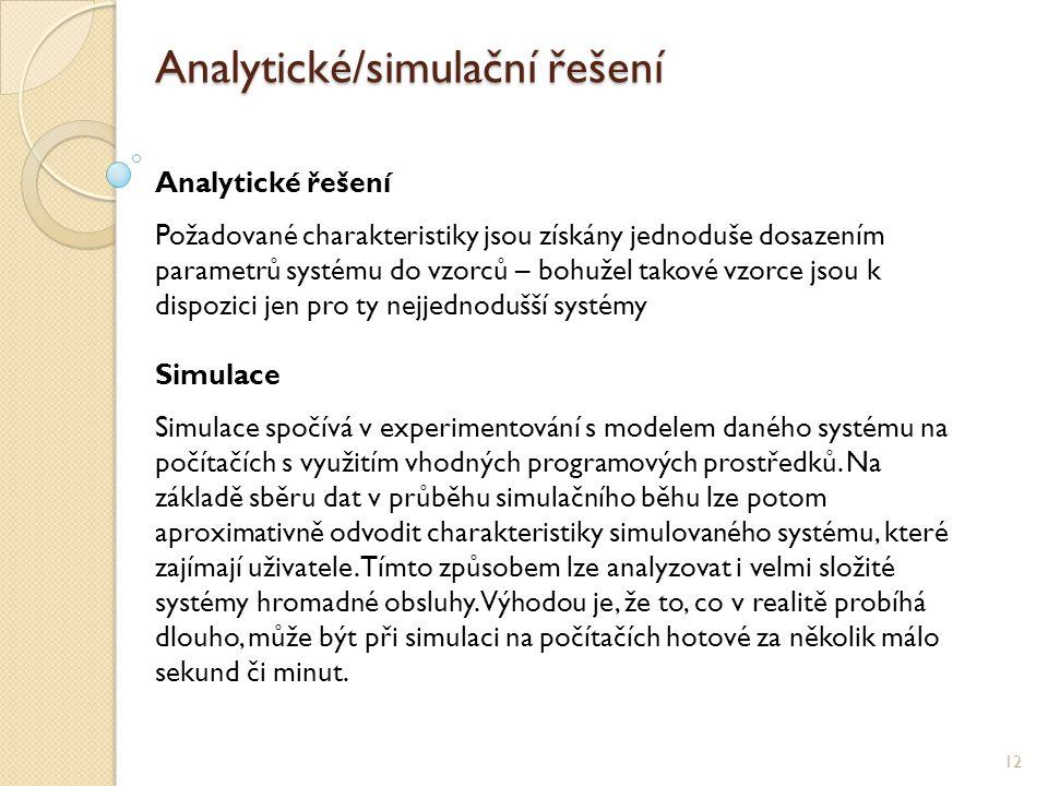 Analytické/simulační řešení