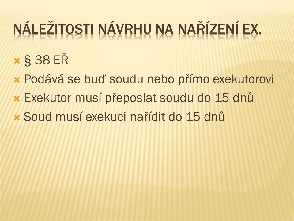 Náležitosti návrhu na nařízení ex.