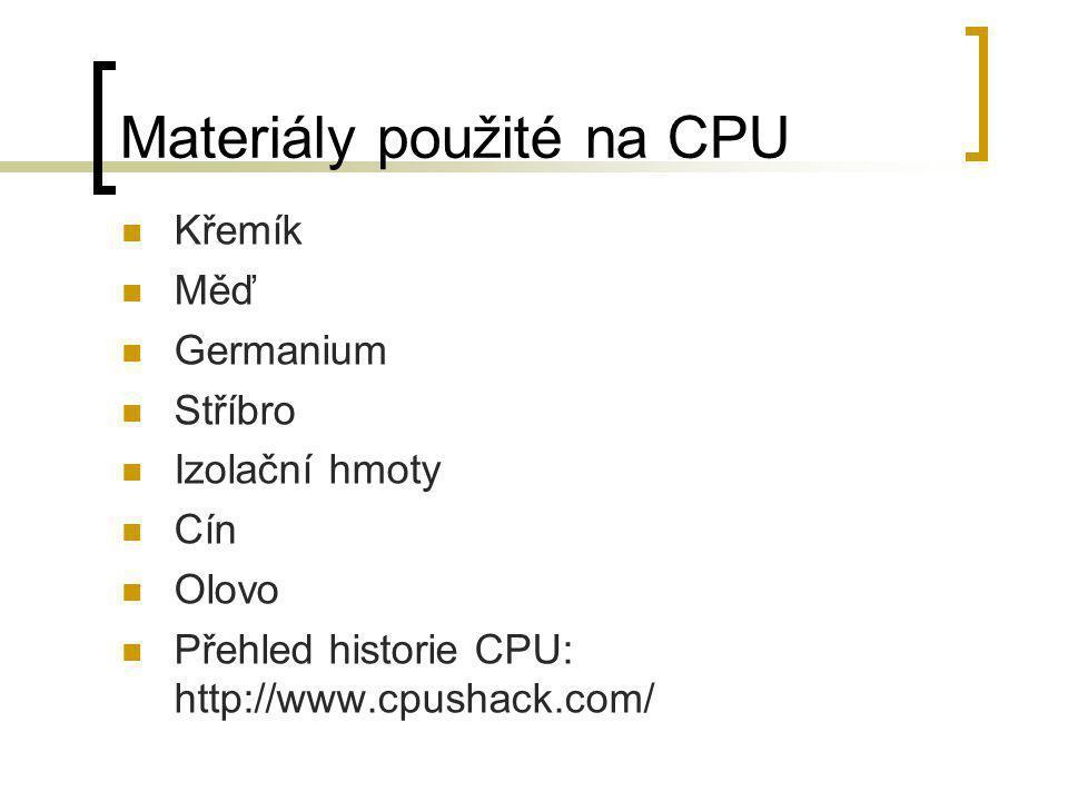 Materiály použité na CPU