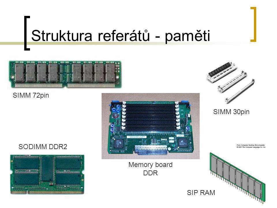 Struktura referátů - paměti