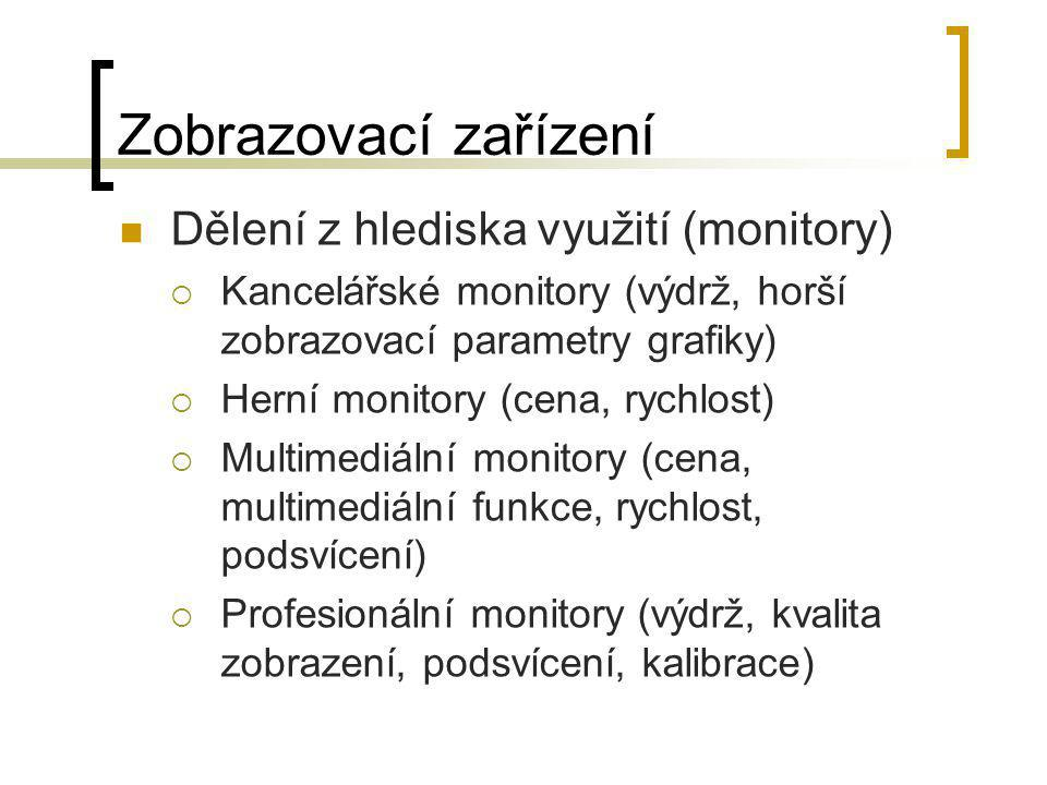 Zobrazovací zařízení Dělení z hlediska využití (monitory)